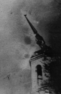 Колокольня. Пожар во время грозы. Фото 1967 г.