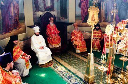Митрополит Лев возглавил служение Литургии в Иверском монастыре в сослужении епископов митрополии