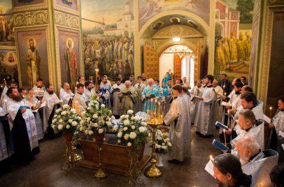 Архиерей Новгородской митрополии совершили Чин Погребения Божией Матери в Иверском монастыре