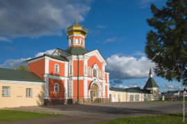 Holy Gates with Gate Church of St. Philip. Iversky monastery in Valdai, Russia