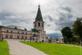 Svyatoozerskaya Valday Iversky Bogoroditsky monastery. The prior's house with the bell tower