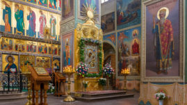The Valdai Iversky Svyatoozersky Bogoroditsky Monastery. The interior of the Iberian cathedral and the Iberian icon of the Mother of God