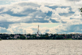Lake Valday on a rainy day. View of the city of Valdai